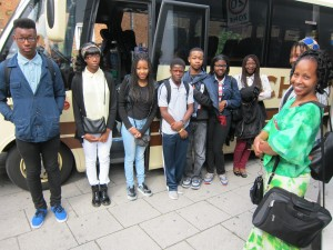 Students nervously wait to board the coach that will take them to Cambridge University