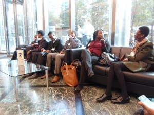 ACD Students admire Citi's the glass lobby