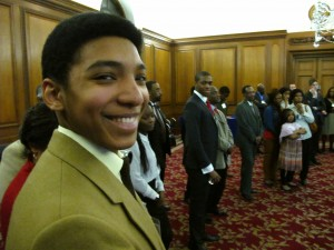 ACD Student Dylan Carty gives an award winning smile before making his way to collect ACD's prize for Top GCSE 2013 results-Male